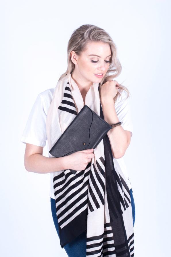 Scarf | Silk Cotton | Block Print | Leather Clutch Bag | Black | Sustainable Fashion