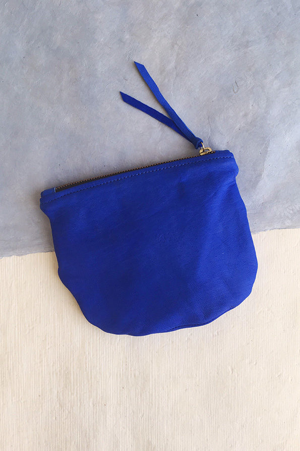 Slouch Clutch Bag Leather Cobalt