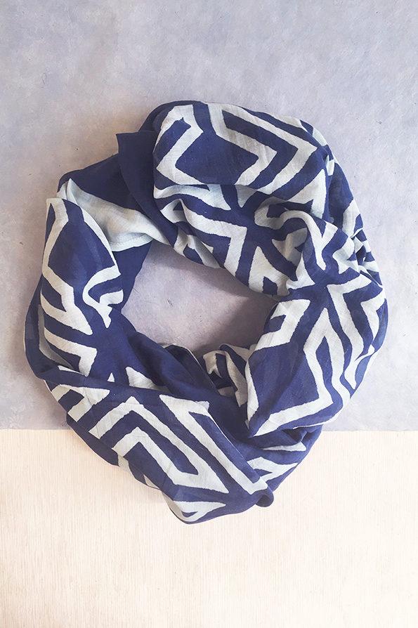 Scarf | Block Printed | Blue