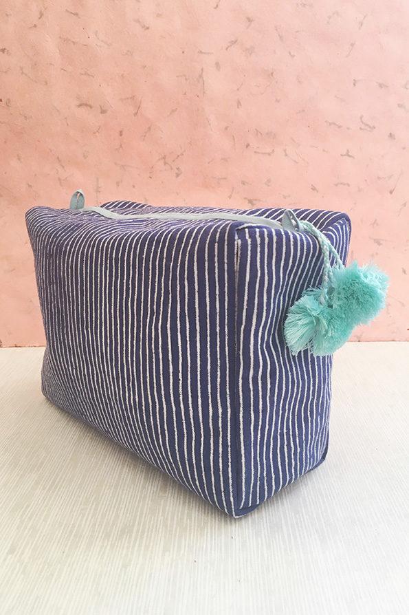 Wash Bag | Block Printed | Blue